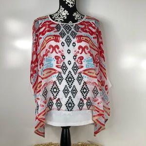 Multiples Kaftan Tunic in Aztec Print Size M